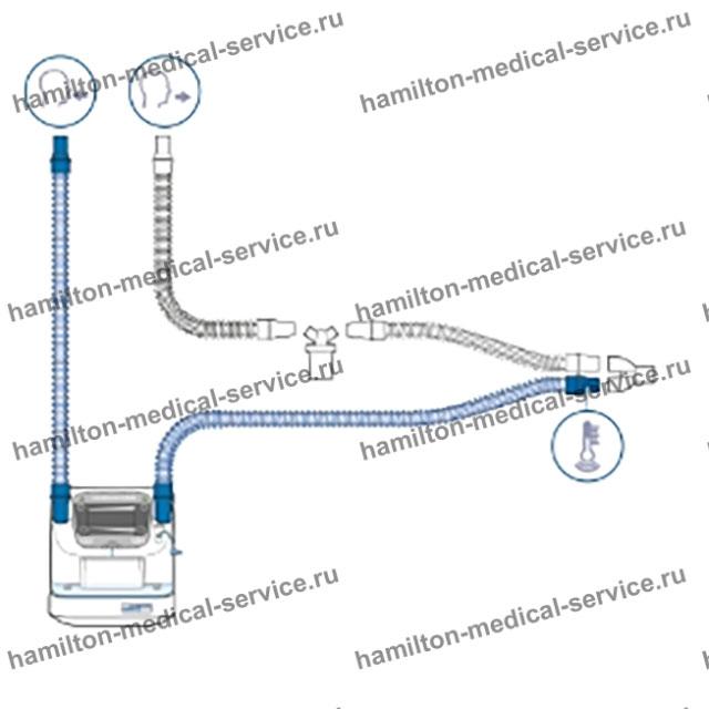 Дыхательный контур увлажнителя ИВЛ с линией выдоха (BC8022-A), автоклавируемый, взрослый, детский