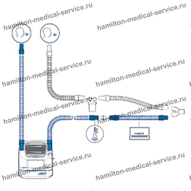 Дыхательный контур увлажнителя ИВЛ с линией выдоха (BC8010-A), автоклавируемый, детский, неонатальный